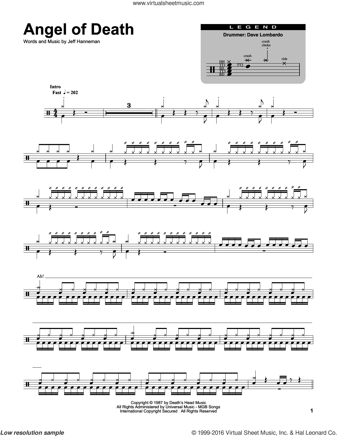 Angel Of Death sheet music for drums by Jeff Hanneman and Slayer. Score Image Preview.