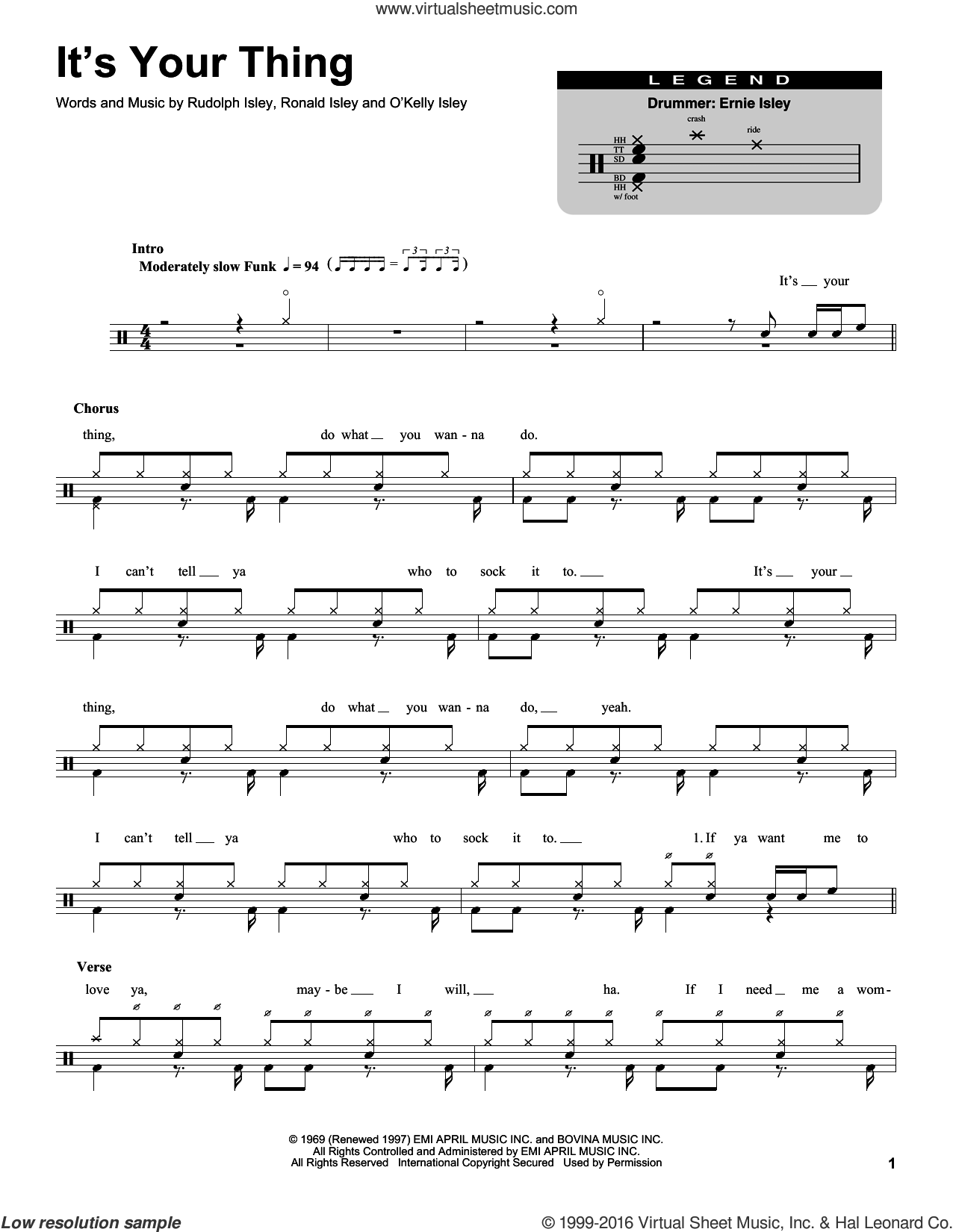 It's Your Thing sheet music for drums by Rudolph Isley