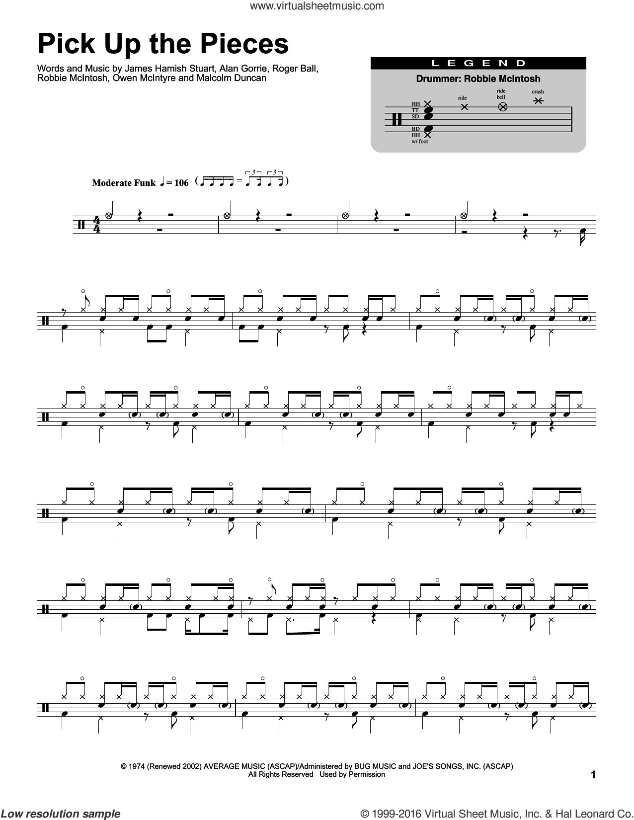 Pick Up The Pieces sheet music for drums by Average White Band, Alan Gorrie, Malcolm Duncan, Robbie McIntosh and Roger Ball, intermediate drums. Score Image Preview.
