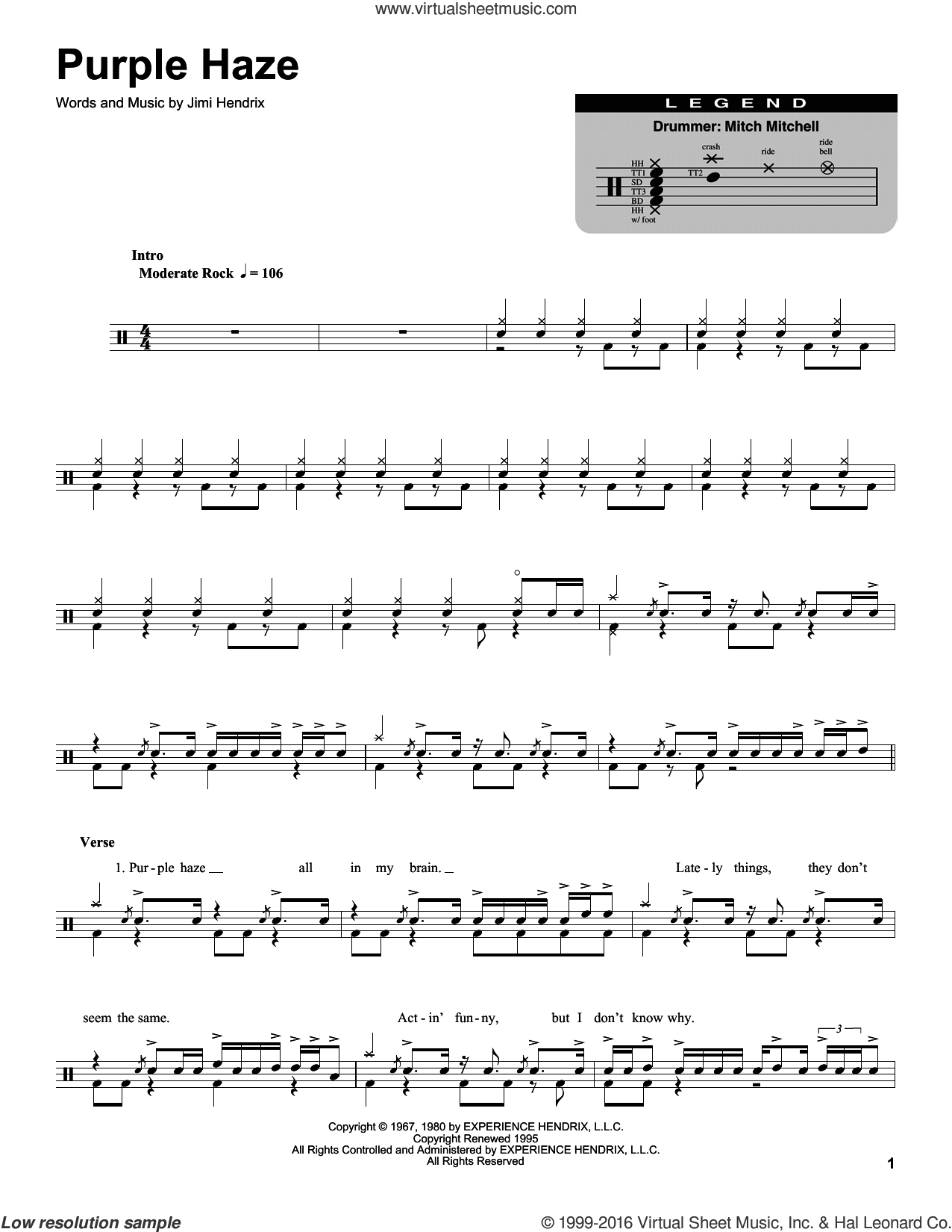 Purple Haze sheet music for drums by Jimi Hendrix. Score Image Preview.