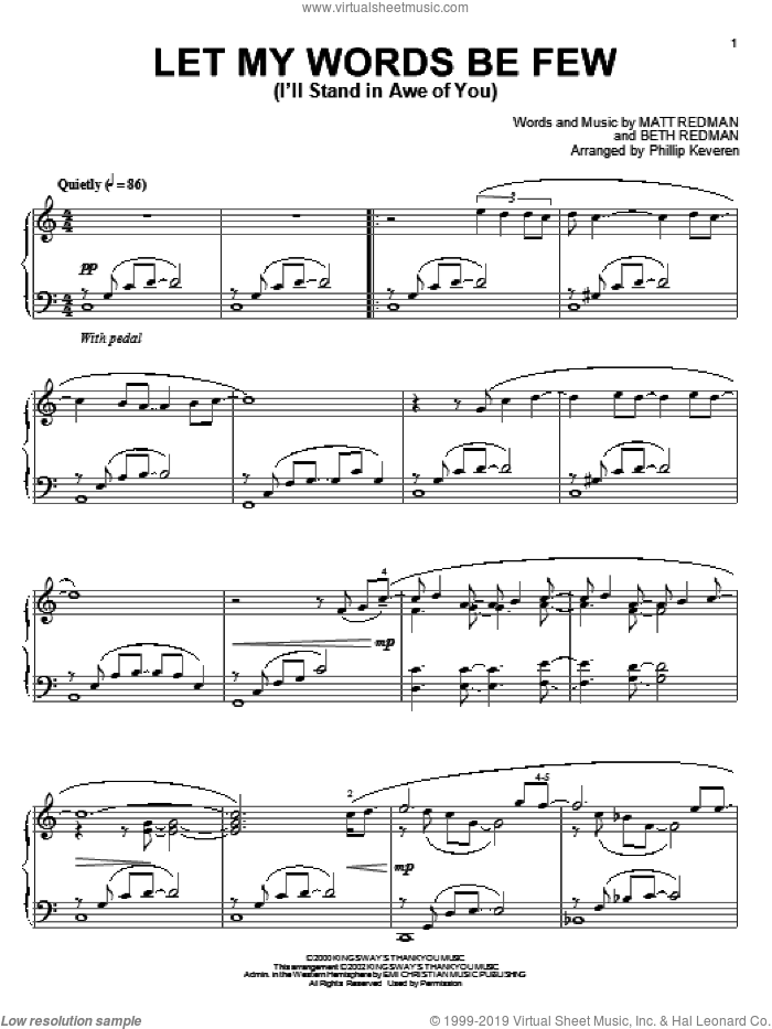Let My Words Be Few (I'll Stand In Awe Of You) sheet music for piano solo by Matt Redman, Phillip Keveren and Beth Redman, intermediate skill level