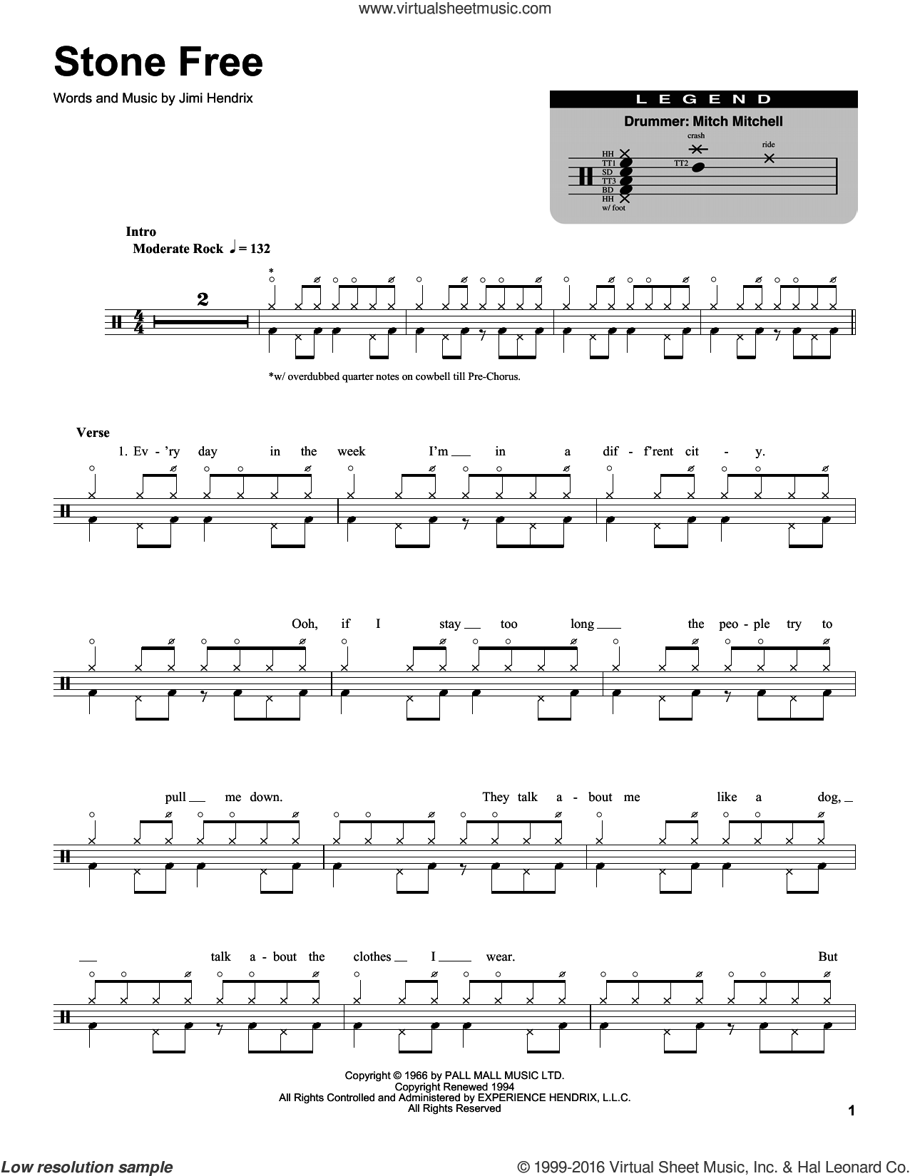 Stone Free sheet music for drums by Jimi Hendrix. Score Image Preview.