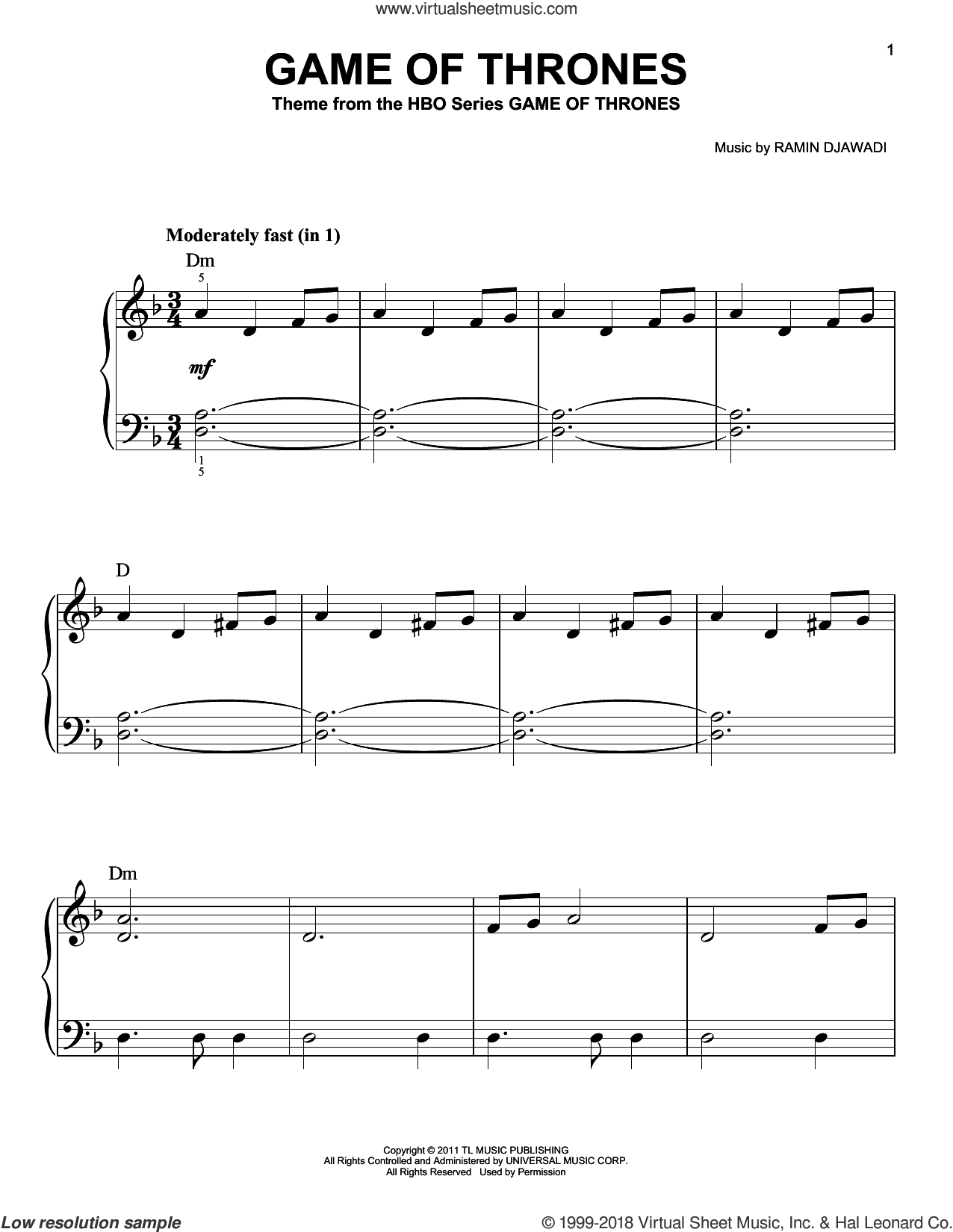 Game Of Thrones - Main Title, (easy) sheet music for piano solo by Ramin Djawadi and Game Of Thrones (TV Series), classical score, easy skill level