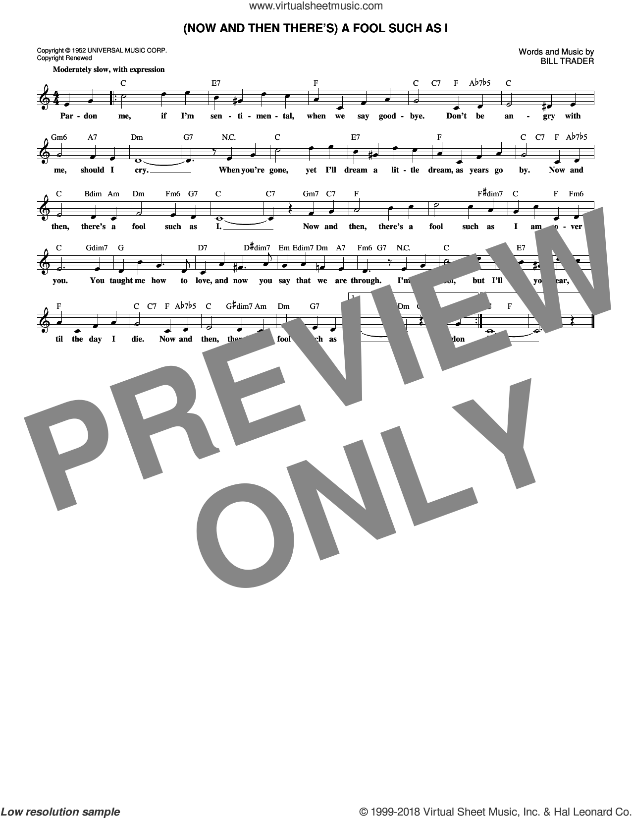 (Now And Then There's) A Fool Such As I sheet music for voice and other instruments (fake book) by Bill Trader, Bob Dylan, Elvis Presley and Hank Snow, intermediate skill level