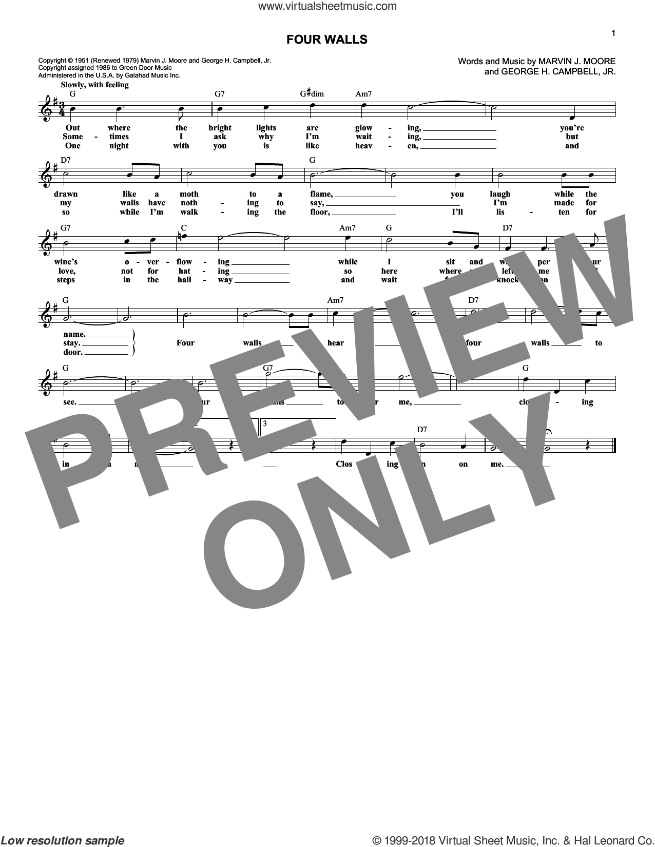 Four Walls sheet music for voice and other instruments (fake book) by Marvin J. Moore. Score Image Preview.