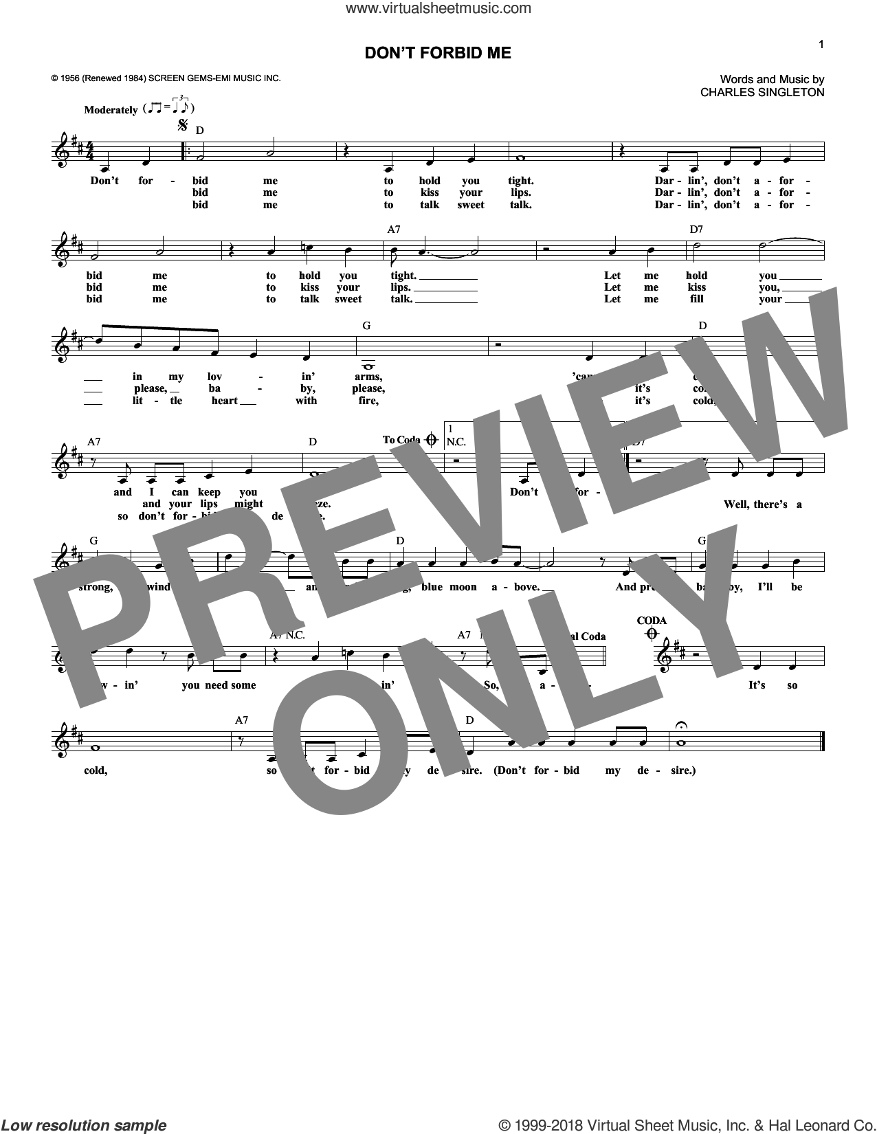 Don't Forbid Me sheet music for voice and other instruments (fake book) by Pat Boone and Charles Singleton, intermediate. Score Image Preview.
