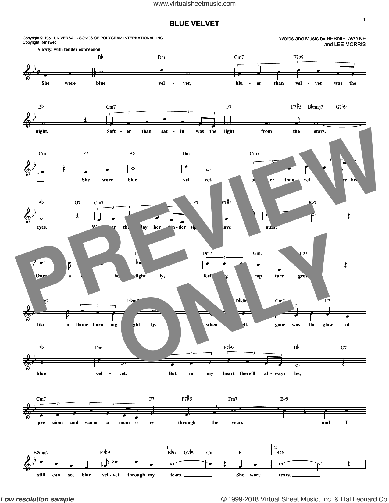 Blue Velvet sheet music for voice and other instruments (fake book) by Bobby Vinton, Statues, Bernie Wayne and Lee Morris, intermediate skill level