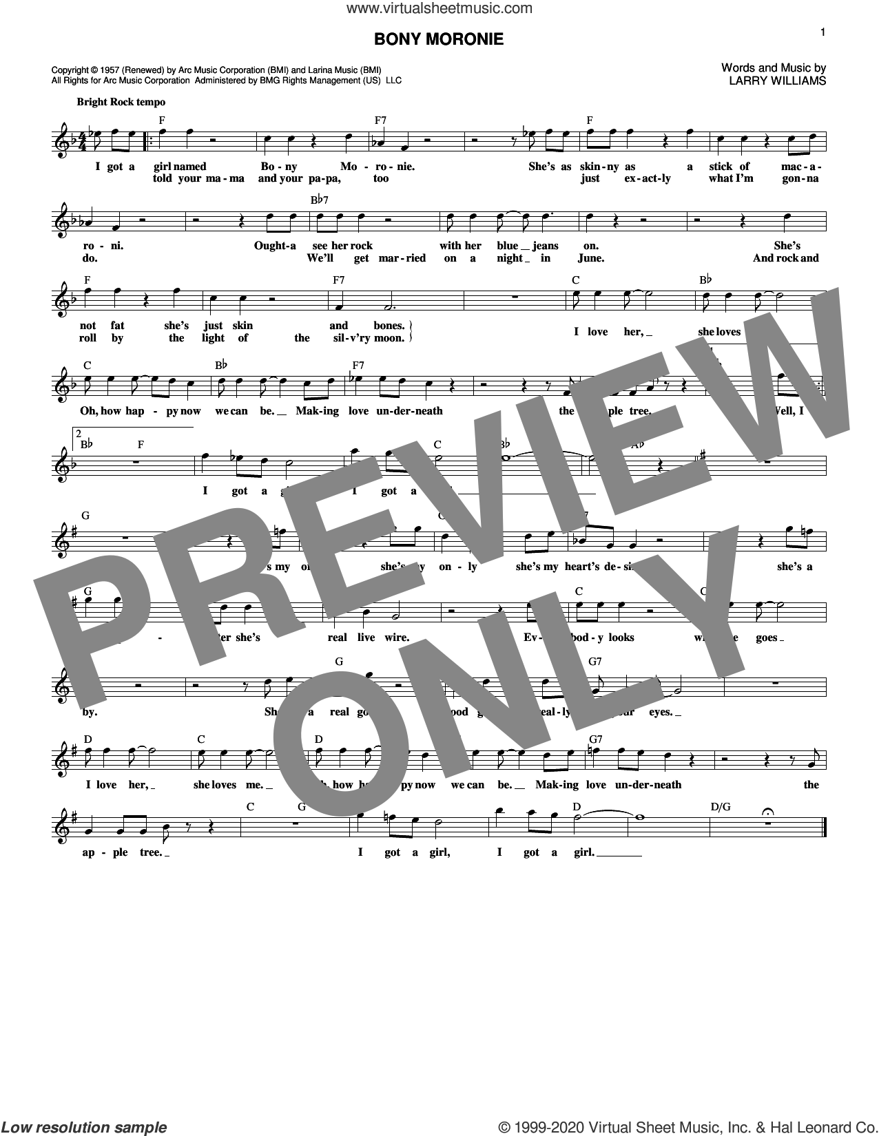 Bony Moronie sheet music for voice and other instruments (fake book) by Larry Williams, intermediate skill level