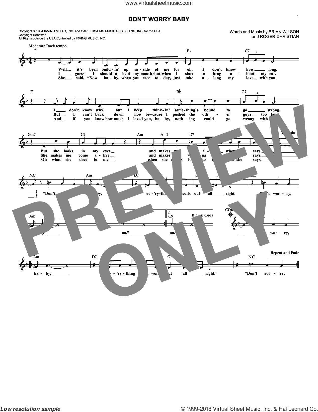 Don't Worry Baby sheet music for voice and other instruments (fake book) by The Beach Boys and Brian Wilson. Score Image Preview.