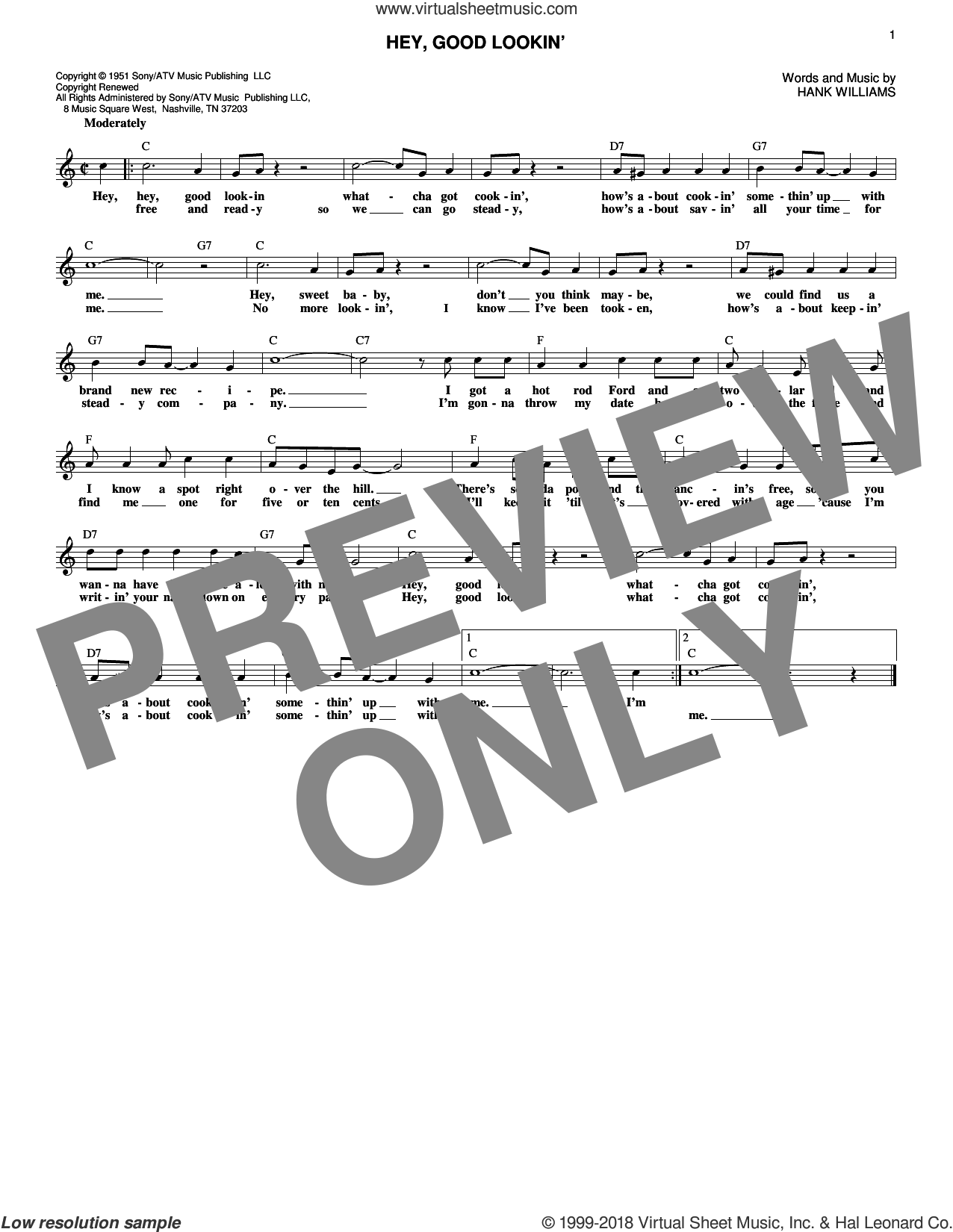 Hey, Good Lookin' sheet music for voice and other instruments (fake book) by Hank Williams, intermediate. Score Image Preview.