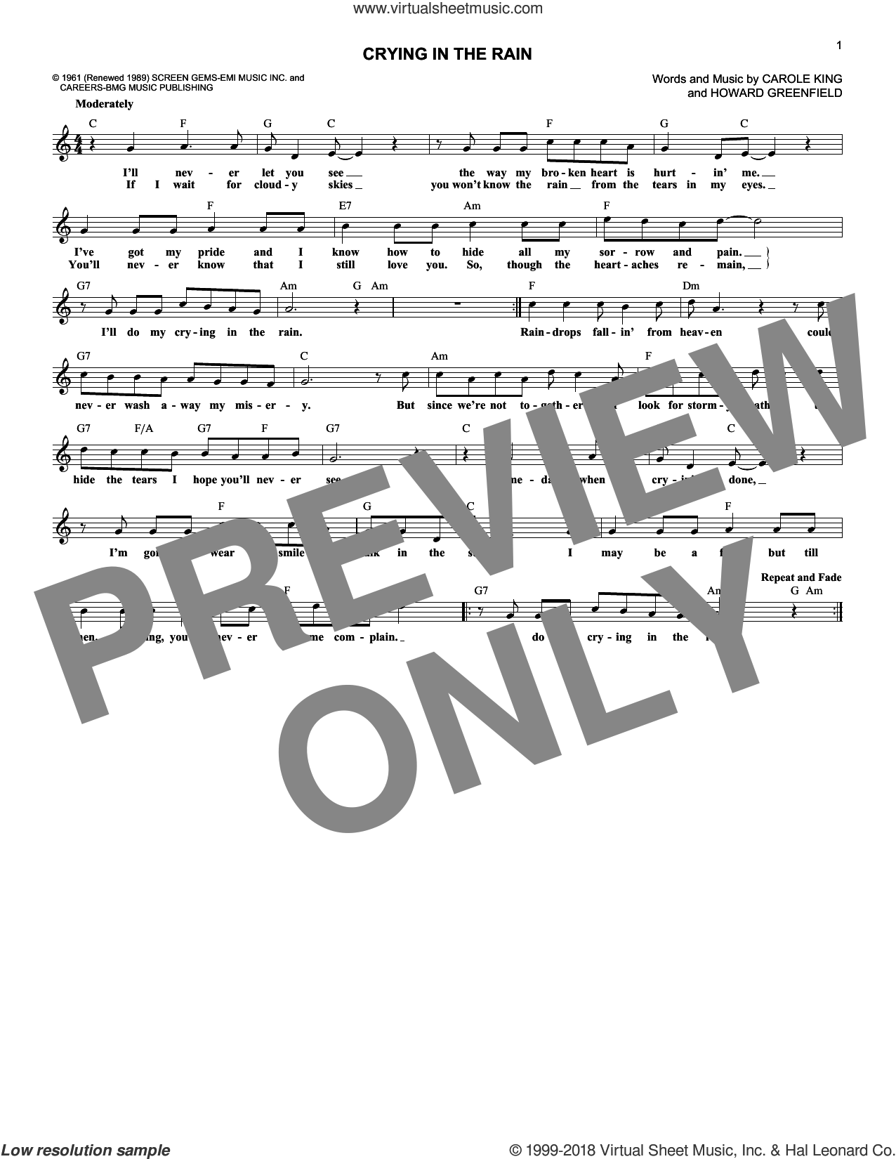 Crying In The Rain sheet music for voice and other instruments (fake book) by Howard Greenfield, Everly Brothers and Carole King. Score Image Preview.