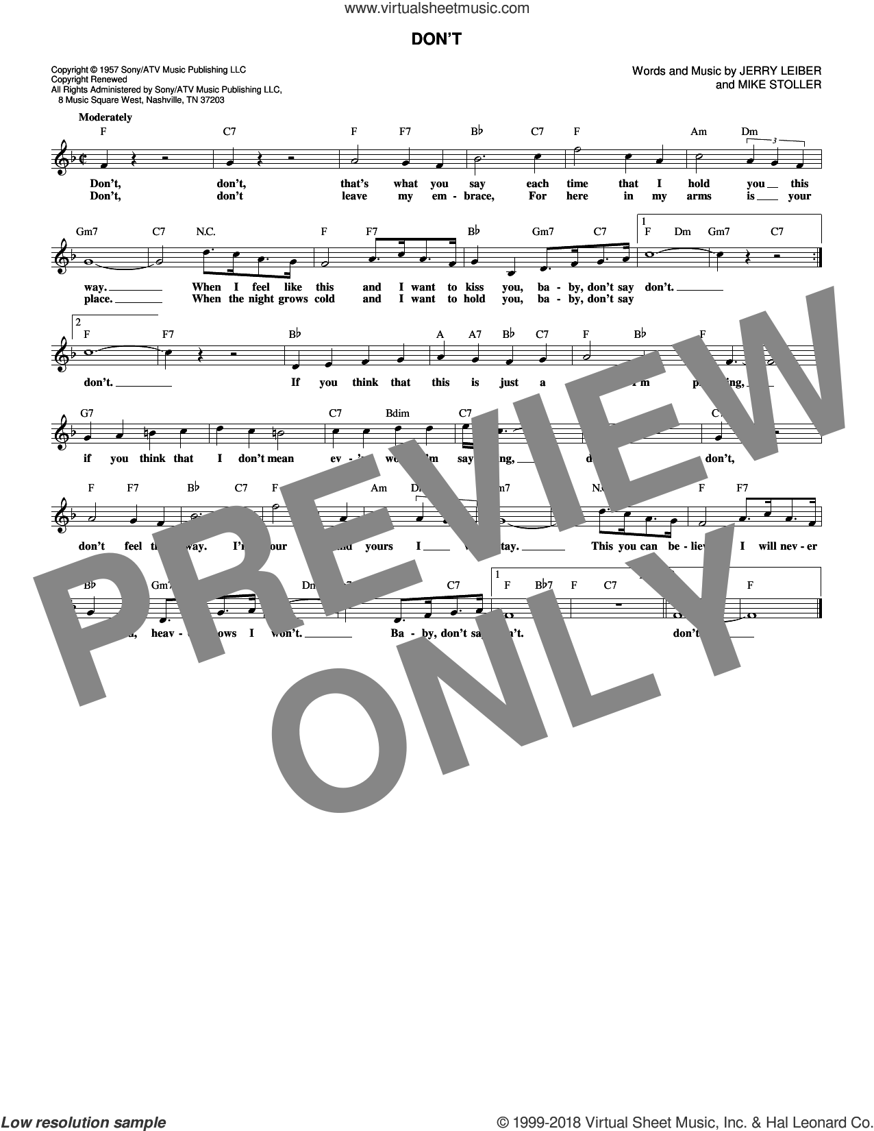 Don't sheet music for voice and other instruments (fake book) by Elvis Presley, Jerry Leiber and Mike Stoller, intermediate skill level