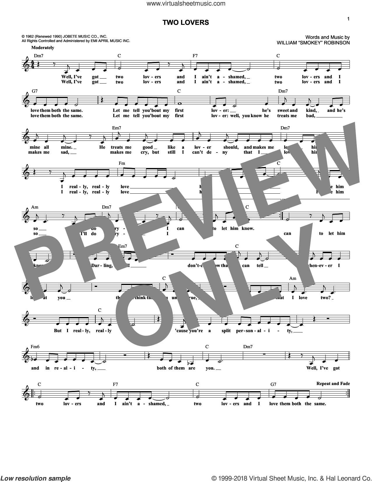 Two Lovers sheet music for voice and other instruments (fake book) by William 'Smokey' Robinson. Score Image Preview.