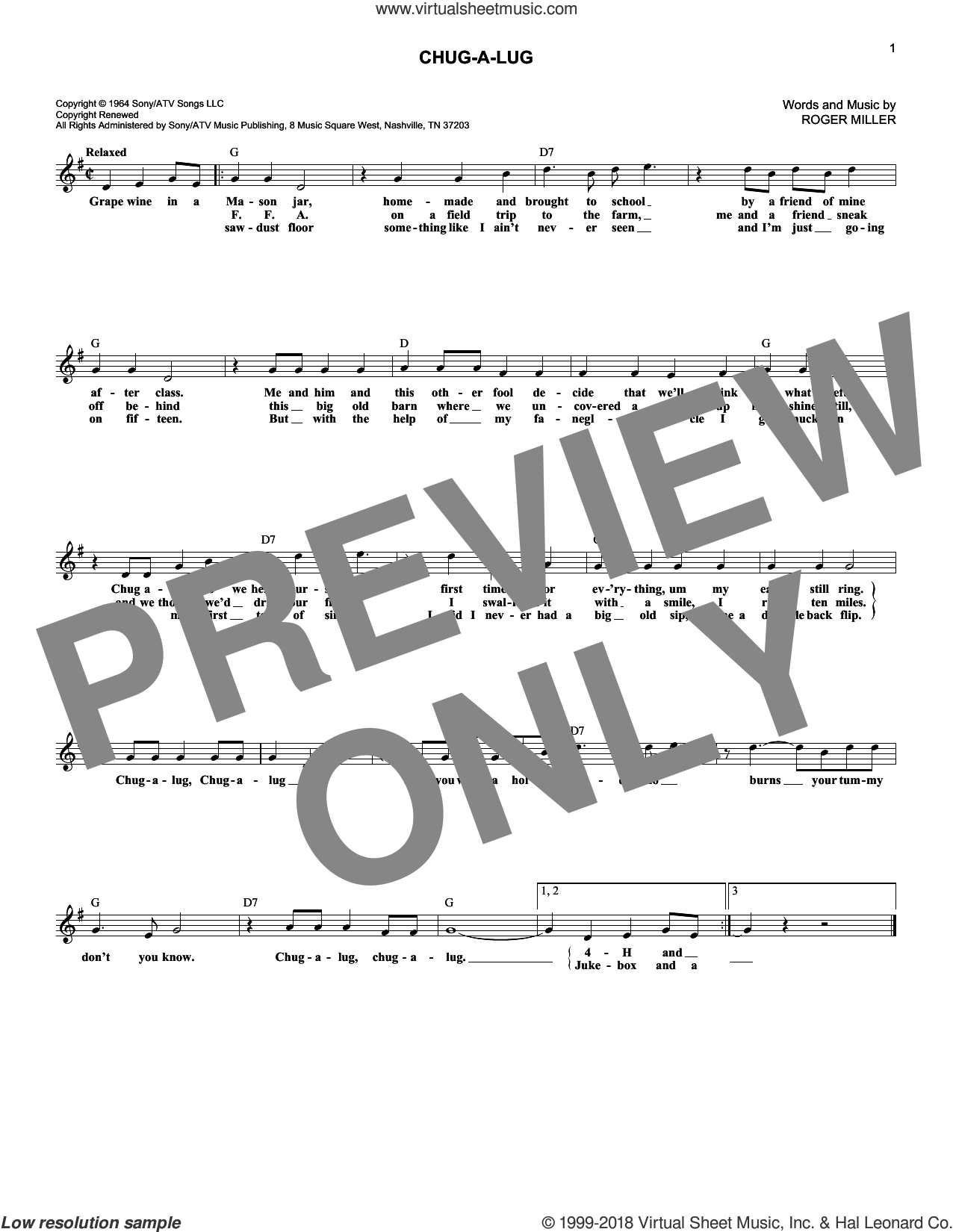 Chug-A-Lug sheet music for voice and other instruments (fake book) by Roger Miller, intermediate skill level