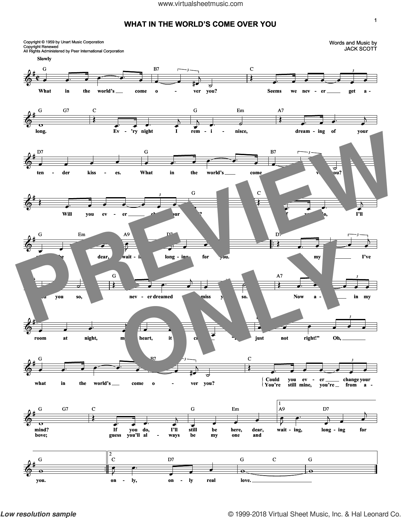 What In The World's Come Over You sheet music for voice and other instruments (fake book) by Jack Scott, intermediate. Score Image Preview.
