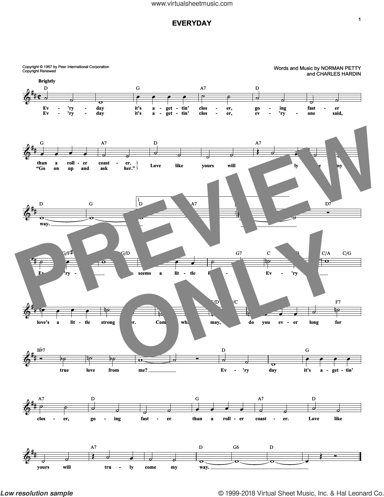 Everyday sheet music for voice and other instruments (fake book) by Buddy Holly, Charles Hardin and Norman Petty, intermediate skill level