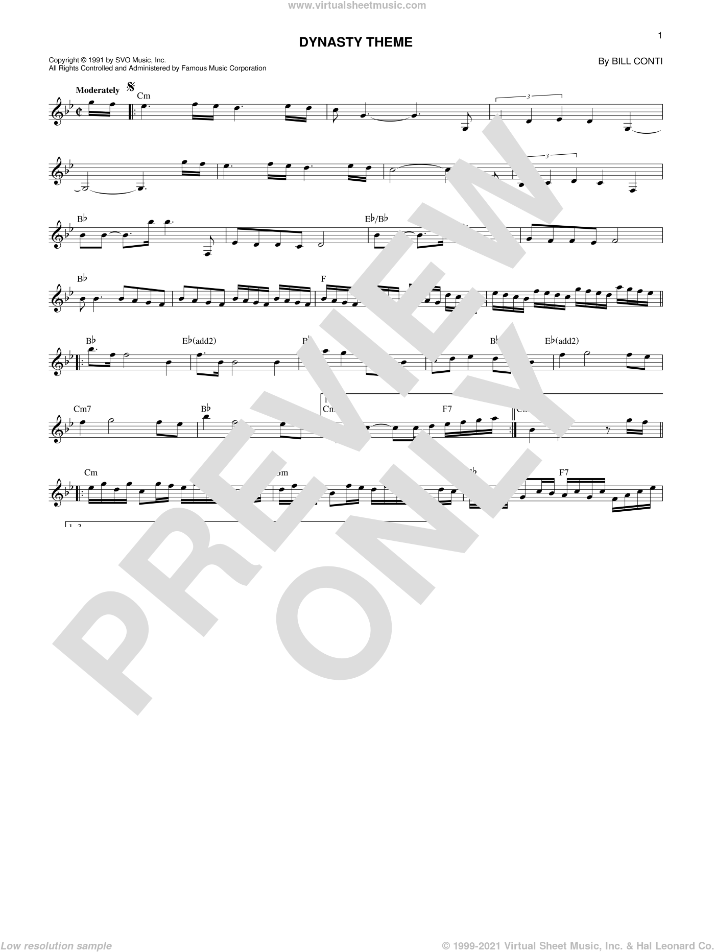 Dynasty Theme sheet music for voice and other instruments (fake book) by Bill Conti. Score Image Preview.