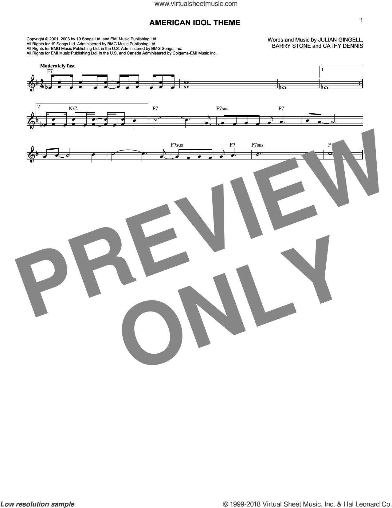 American Idol Theme sheet music for voice and other instruments (fake book) by Julian Gingell and Cathy Dennis. Score Image Preview.