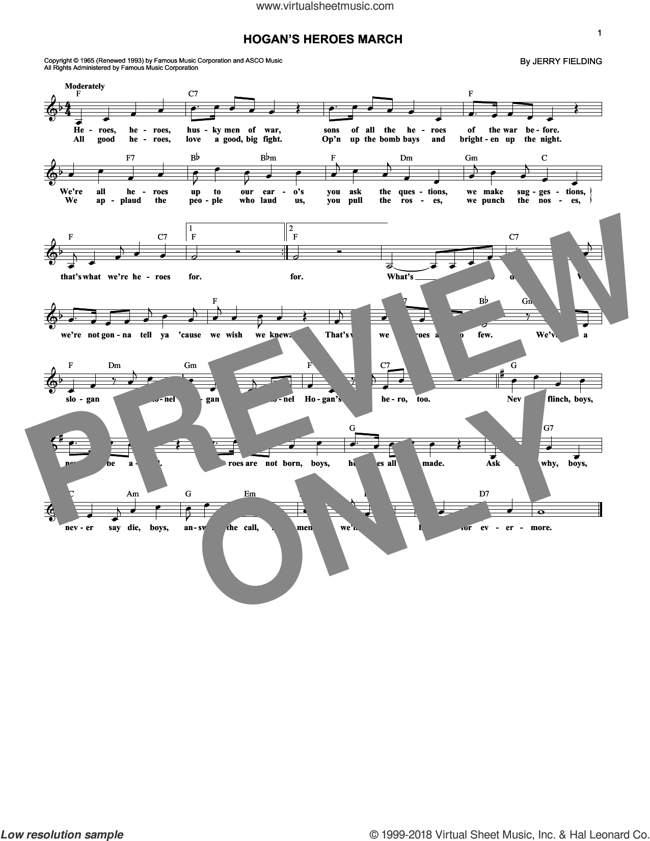 Hogan's Heroes March sheet music for voice and other instruments (fake book) by Jerry Fielding. Score Image Preview.