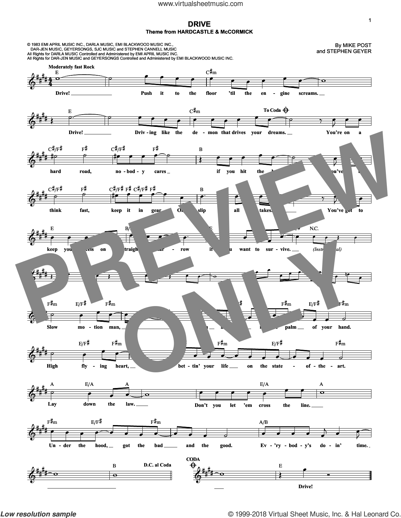 Drive sheet music for voice and other instruments (fake book) by Mike Post and Steve Geyer, intermediate voice. Score Image Preview.