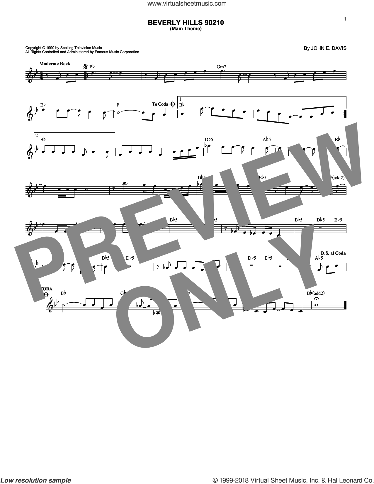 Beverly Hills 90210 (Main Theme) sheet music for voice and other instruments (fake book) by John E. Davis, intermediate skill level