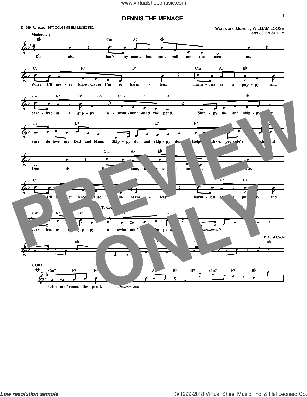 Dennis The Menace sheet music for voice and other instruments (fake book) by John Seely. Score Image Preview.