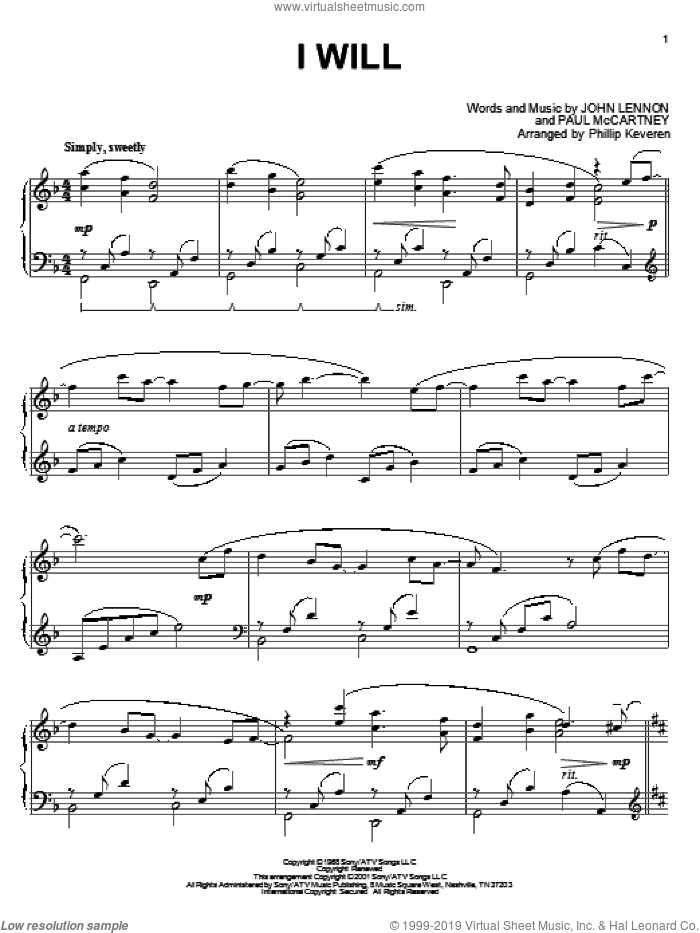 I Will sheet music for piano solo by The Beatles, Phillip Keveren, John Lennon and Paul McCartney, wedding score, intermediate skill level