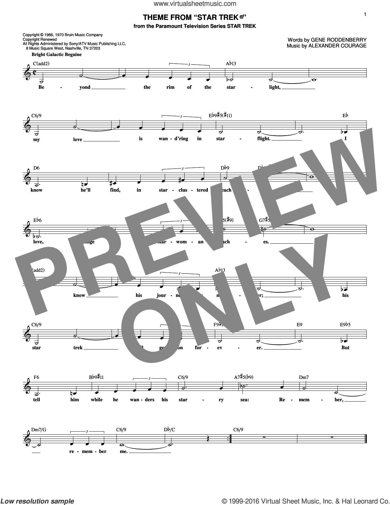 Theme From Star Trek sheet music for voice and other instruments (fake book) by Alexander Courage and Gene Roddenberry. Score Image Preview.