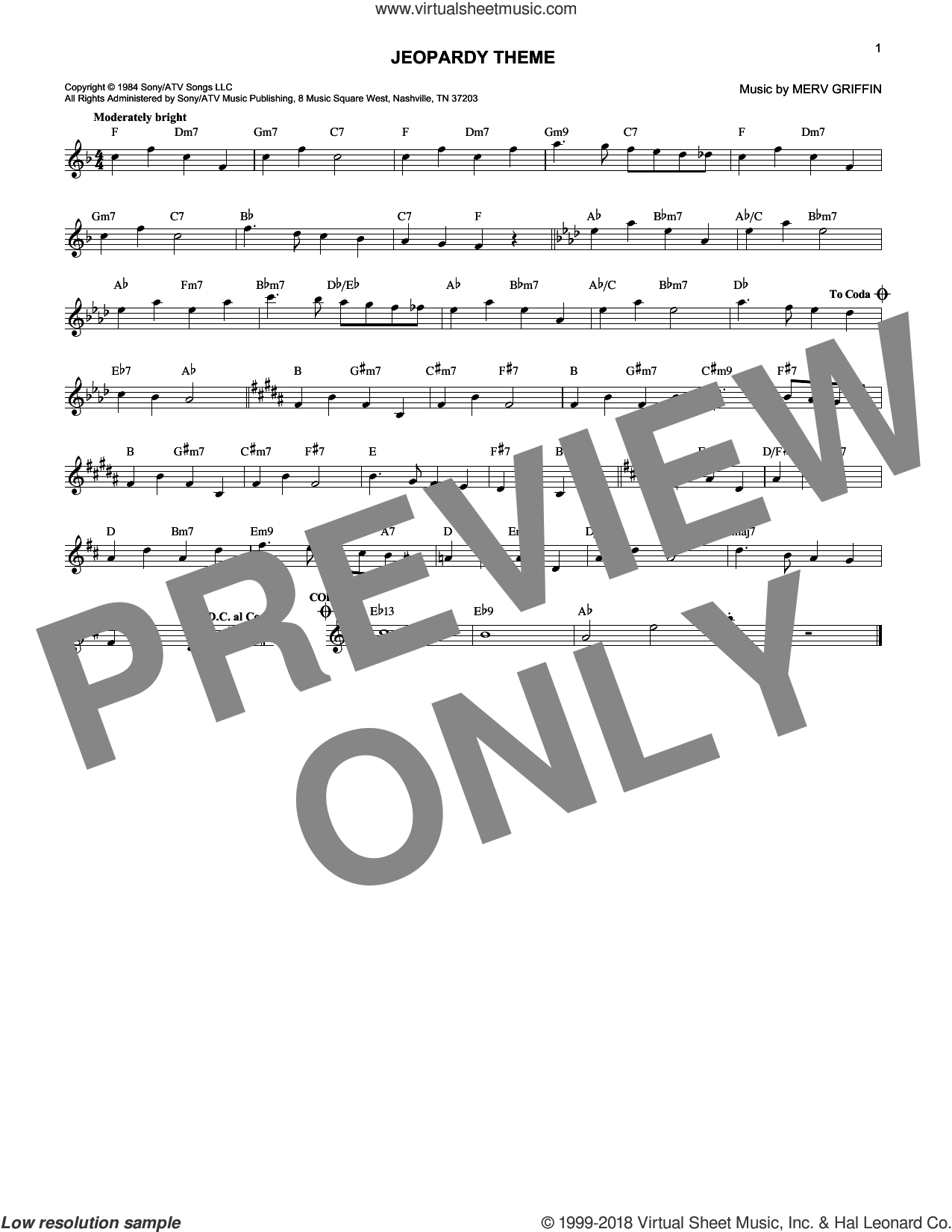 Jeopardy Theme sheet music for voice and other instruments (fake book) by Merv Griffin. Score Image Preview.
