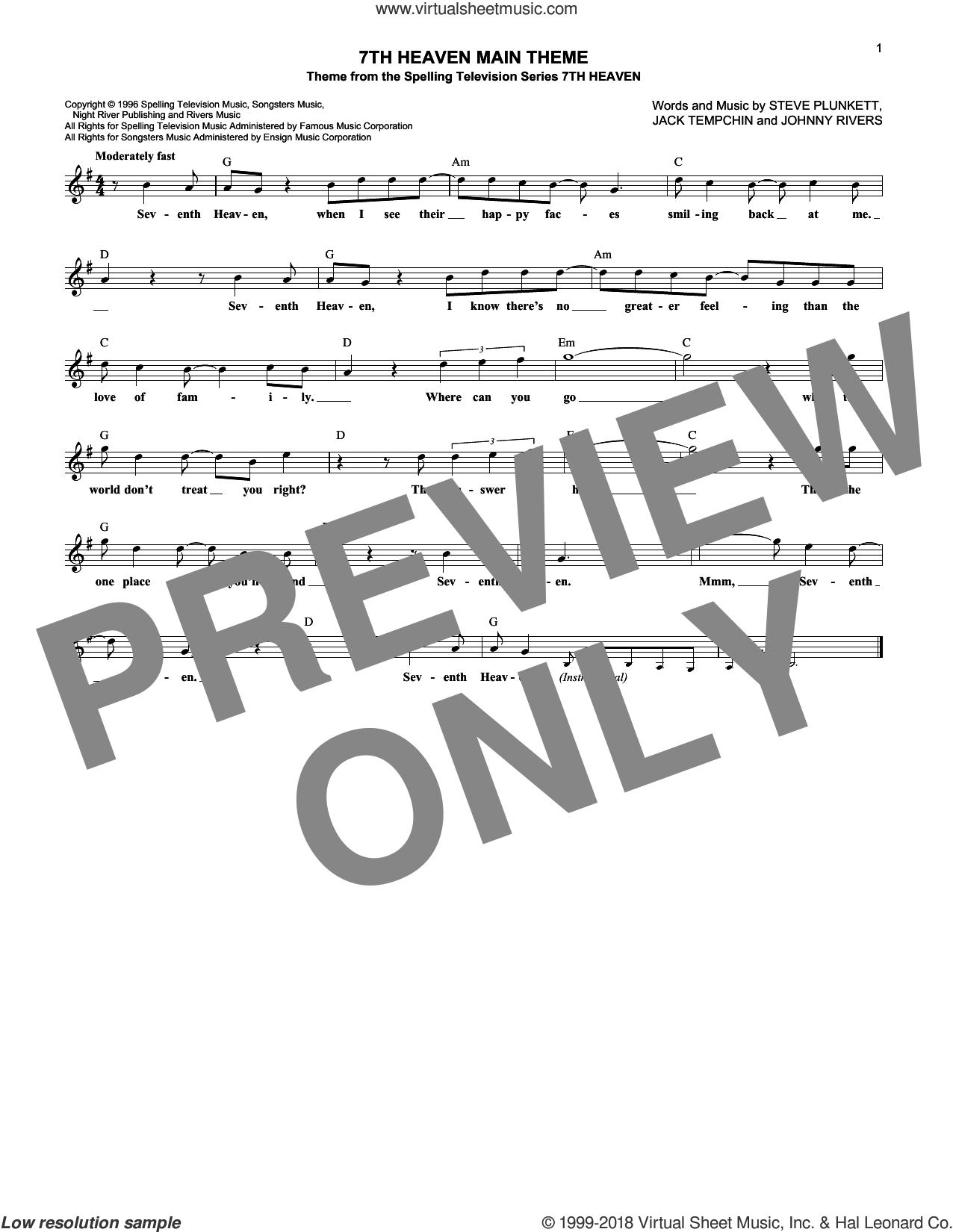 7th Heaven Main Theme sheet music for voice and other instruments (fake book) by Steve Plunkett, Jack Tempchin and Johnny Rivers, intermediate skill level