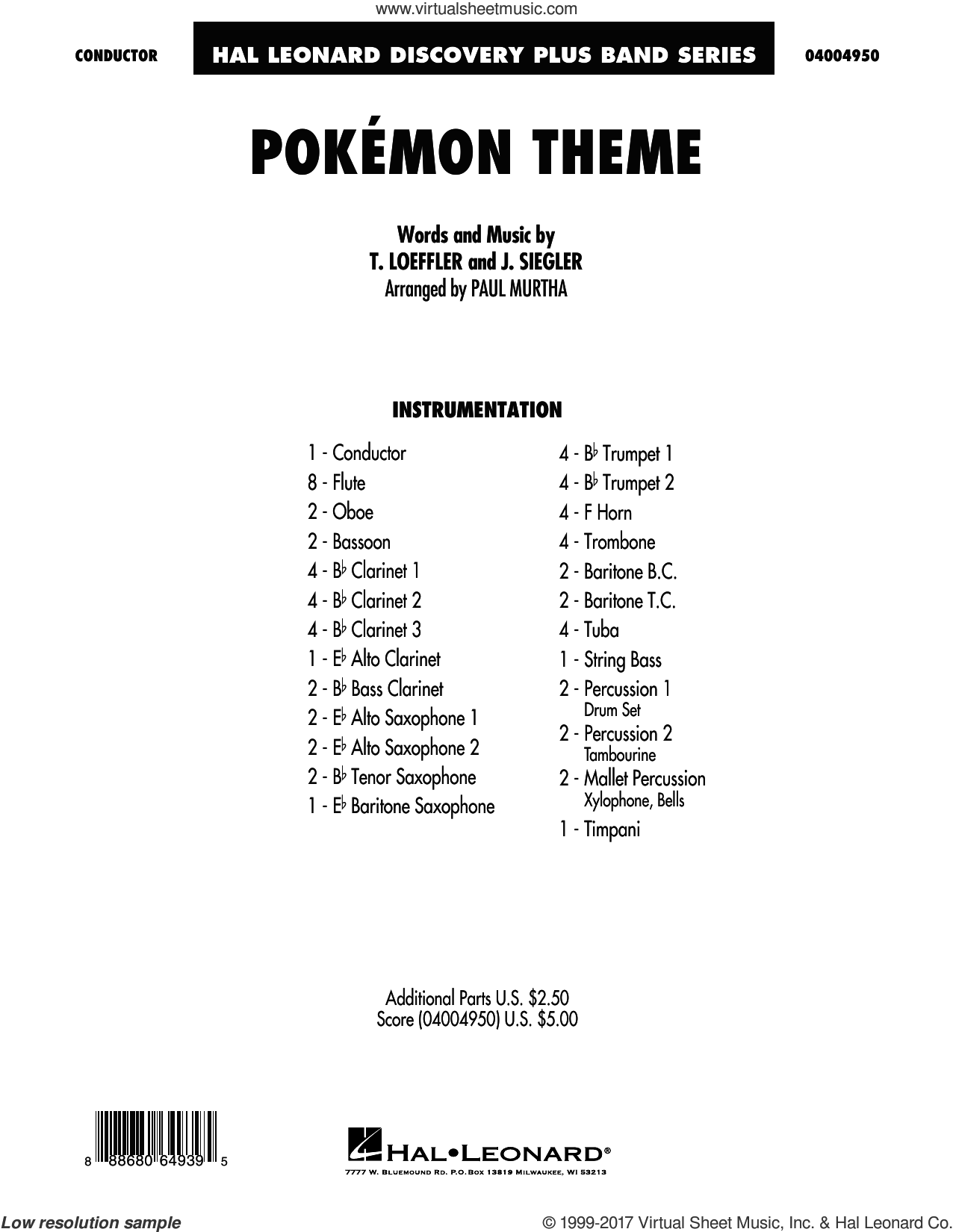 Pokemon Theme (COMPLETE) sheet music for concert band by Paul Murtha and J. Siegler, intermediate concert band. Score Image Preview.