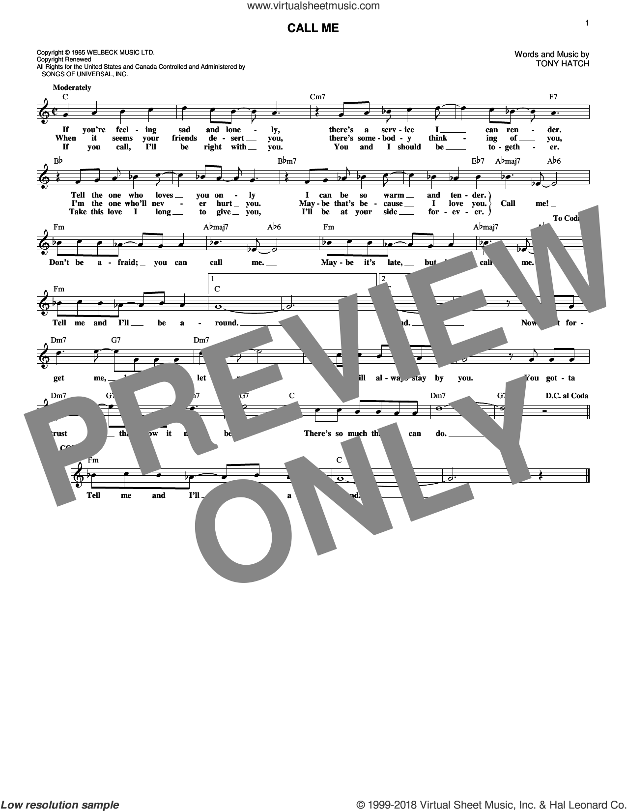 Call Me sheet music for voice and other instruments (fake book) by Tony Hatch and California Chris Montez, intermediate skill level