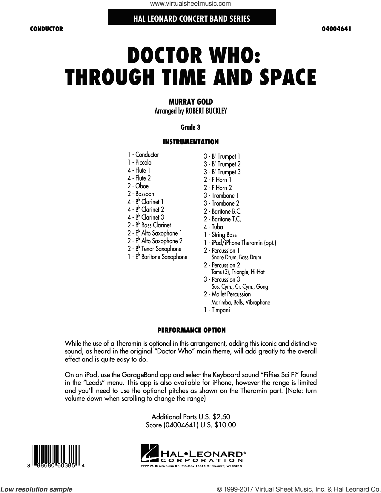Doctor Who: Through Time and Space (COMPLETE) sheet music for concert band by Robert Buckley, intermediate. Score Image Preview.