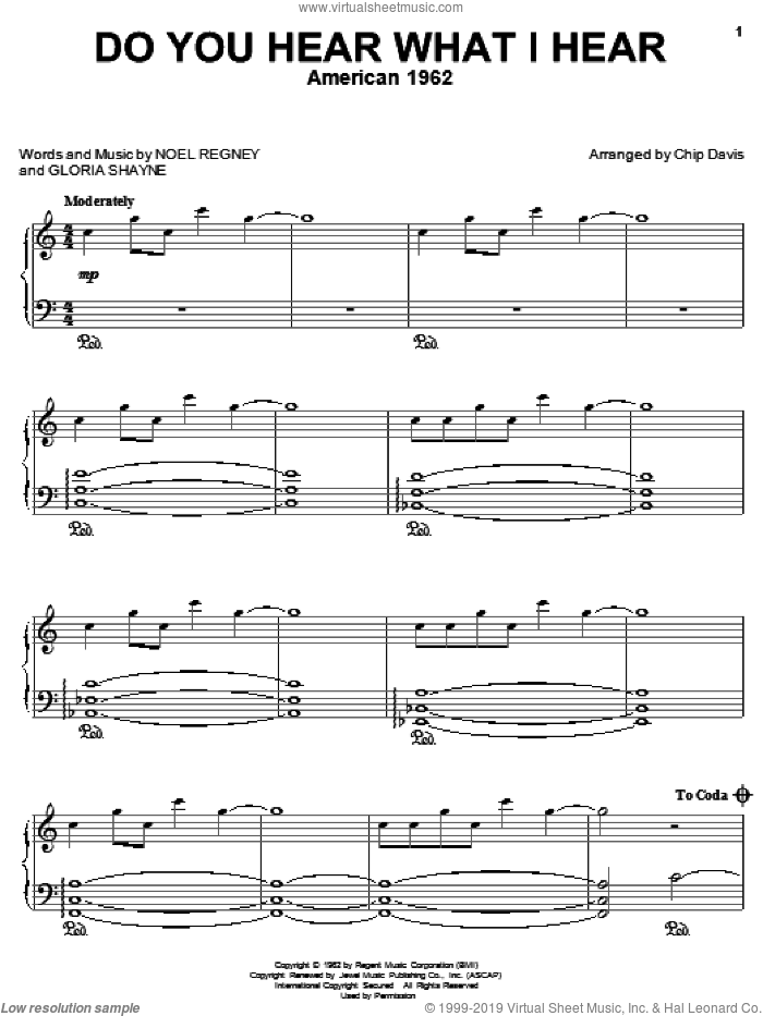 Do You Hear What I Hear sheet music for piano solo by Mannheim Steamroller, Gloria Shayne and Noel Regney, intermediate skill level