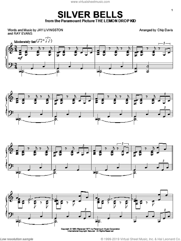 Silver Bells sheet music for piano solo by Mannheim Steamroller, Chip Davis, Jay Livingston and Ray Evans, intermediate skill level