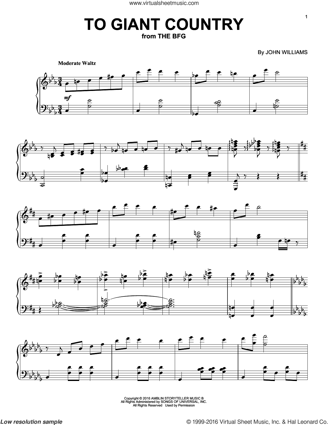 To Giant Country sheet music for piano solo by John Williams. Score Image Preview.