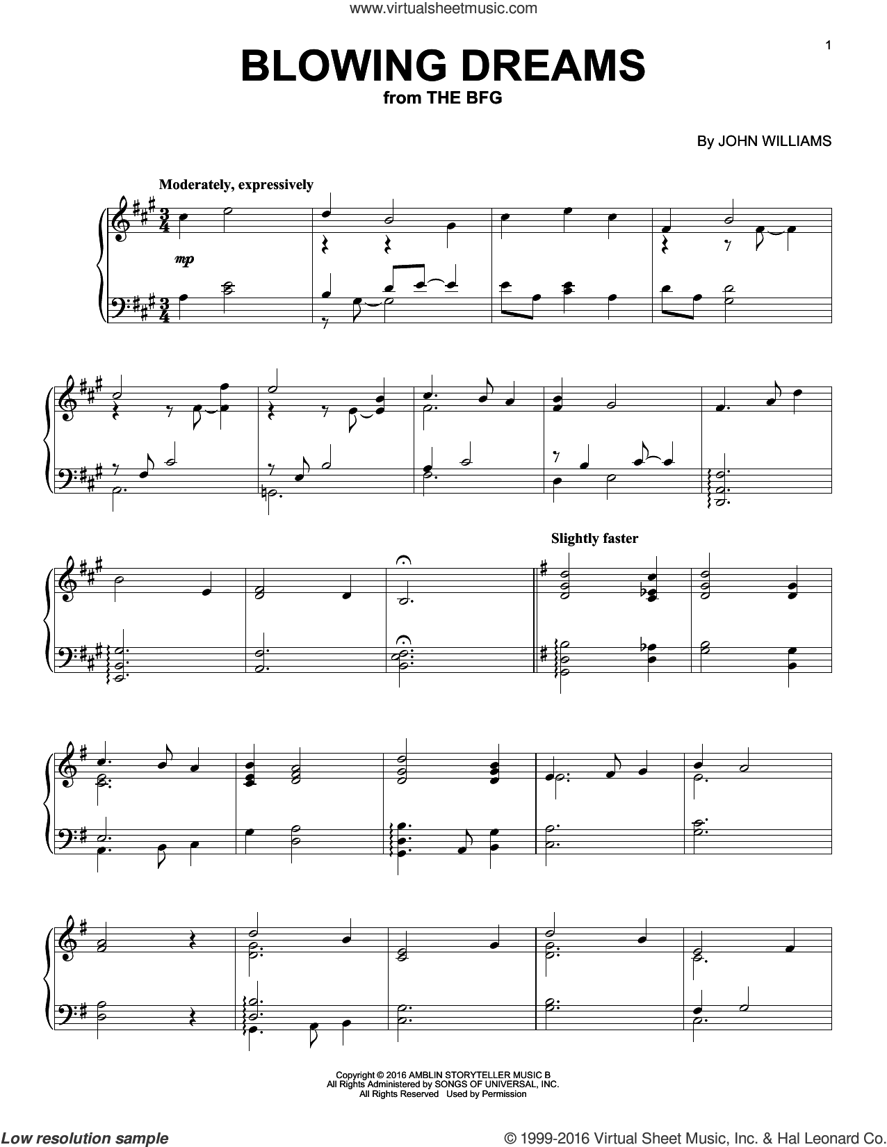 Blowing Dreams sheet music for piano solo by John Williams. Score Image Preview.