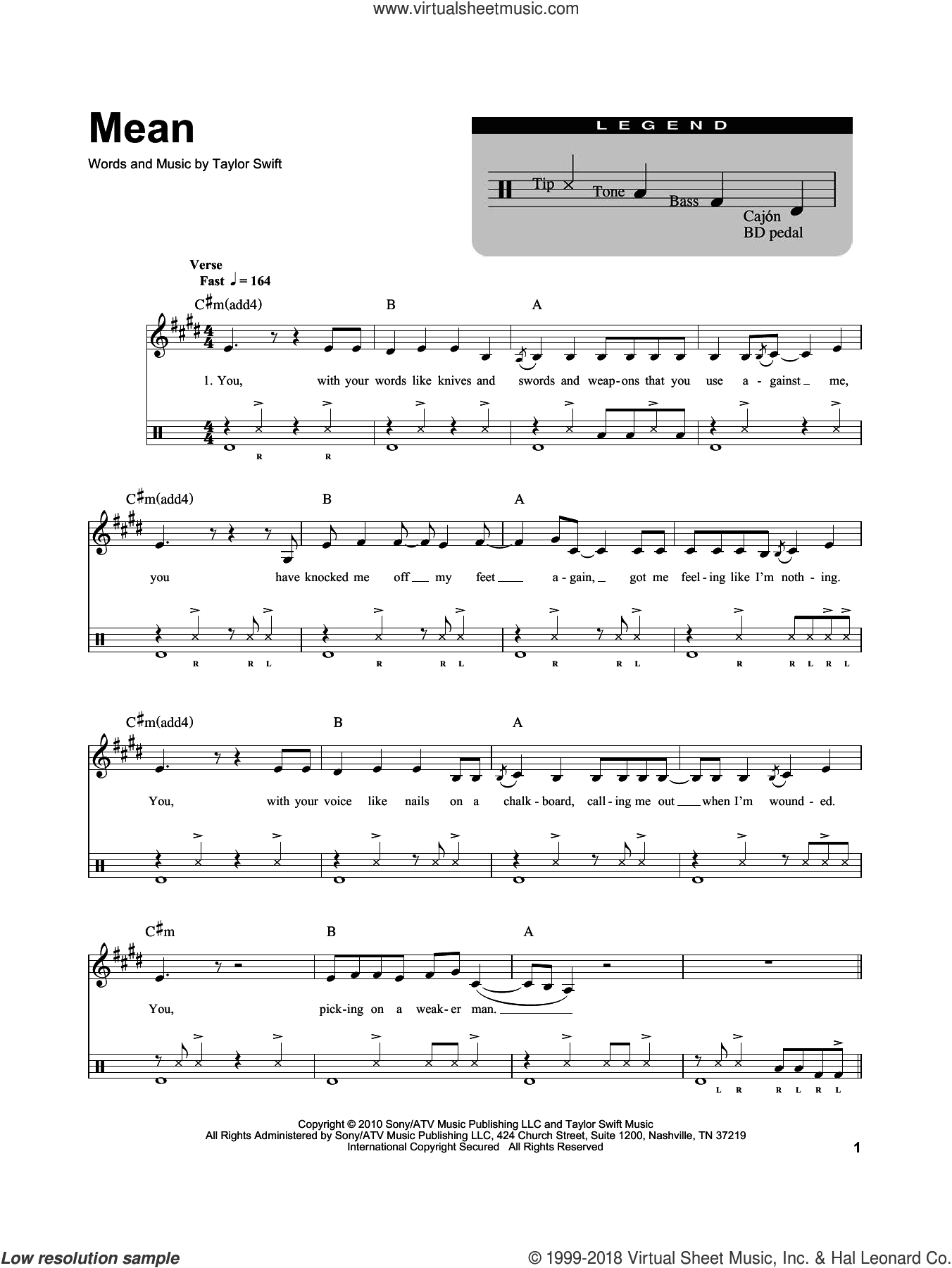 Mean sheet music for drums by Taylor Swift. Score Image Preview.