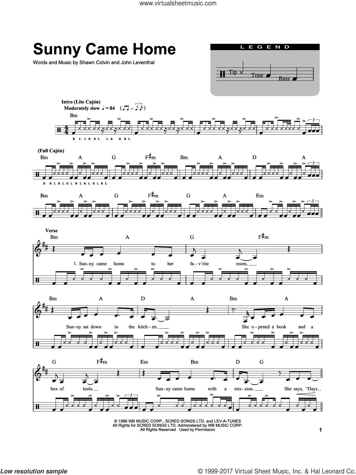 Sunny Came Home sheet music for drums by Shawn Colvin and John Leventhal, intermediate skill level