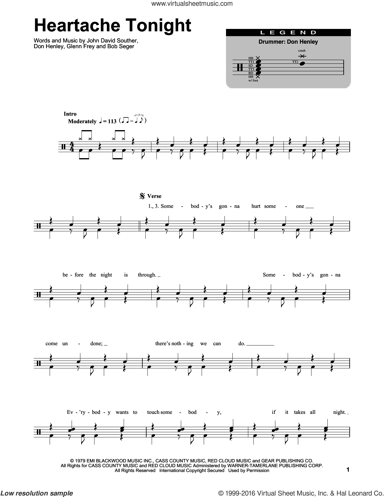 Heartache Tonight sheet music for drums by Eagles, Bob Seger, Don Henley, Glenn Frey and John David Souther, intermediate