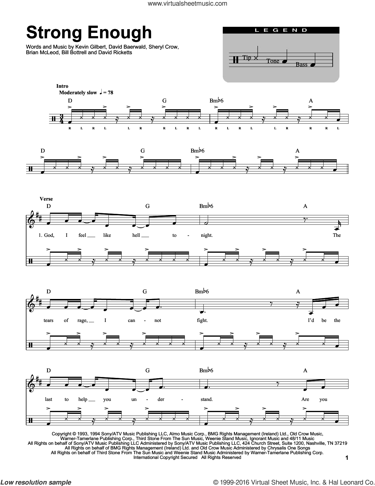 Strong Enough sheet music for drums by Kevin Gilbert, Bill Bottrell, Brian MacLeod, David Baerwald, David Ricketts and Sheryl Crow. Score Image Preview.