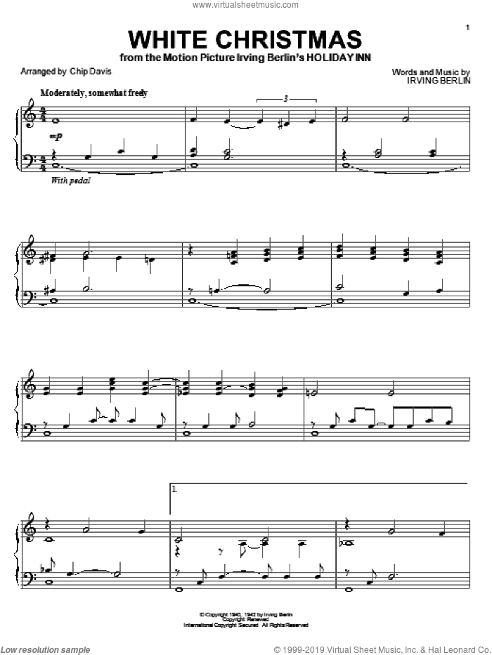 White Christmas sheet music for piano solo by Mannheim Steamroller, Chip Davis and Irving Berlin, intermediate skill level