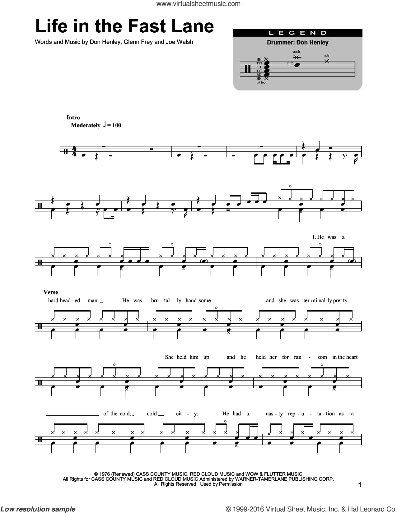 Life In The Fast Lane sheet music for drums by Eagles, The Eagles, Don Henley, Glenn Frey and Joe Walsh. Score Image Preview.