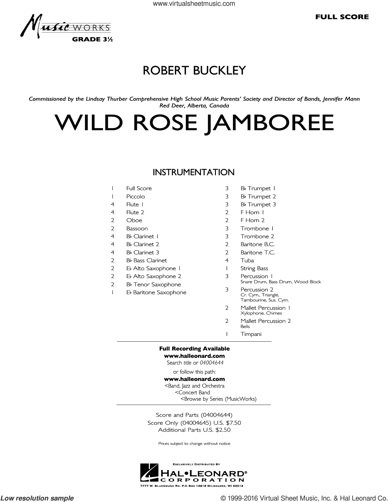 Wild Rose Jamboree (COMPLETE) sheet music for concert band by Robert Buckley, intermediate. Score Image Preview.