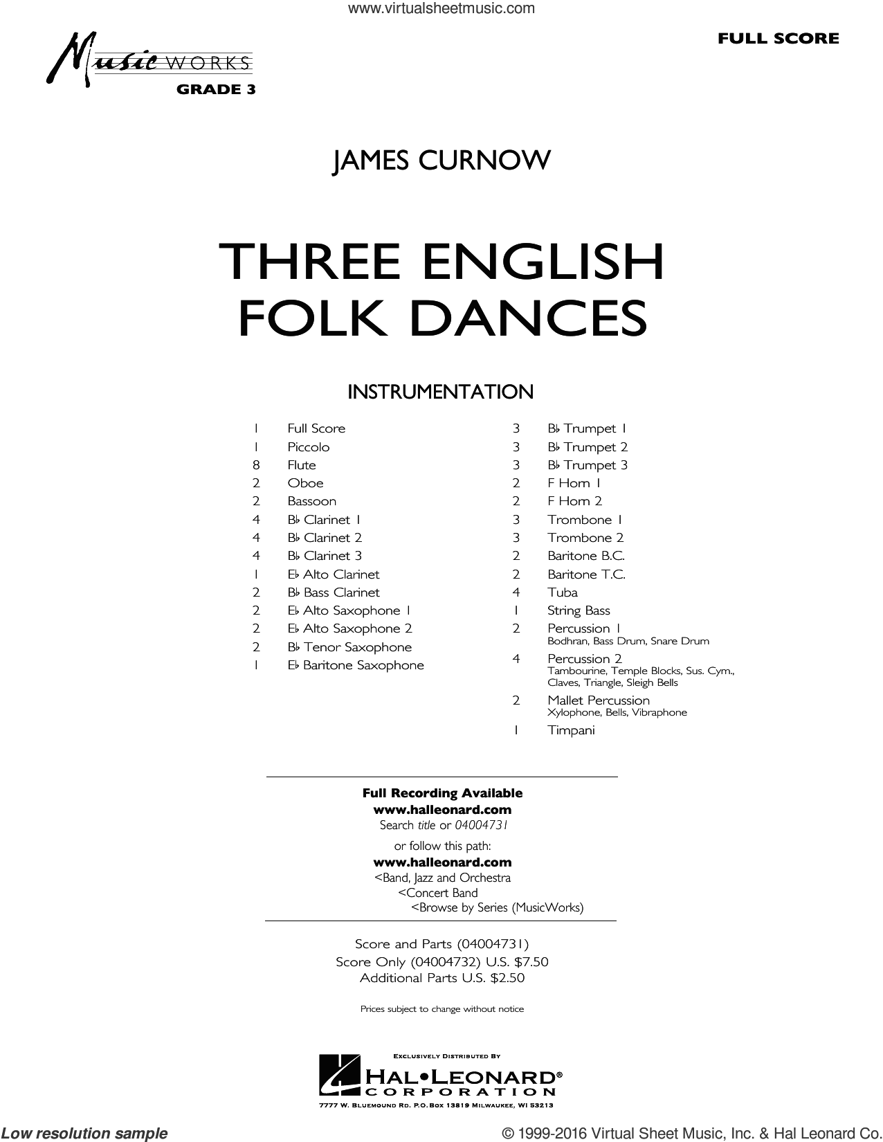 Three English Folk Dances sheet music for concert band (full score) by James Curnow. Score Image Preview.