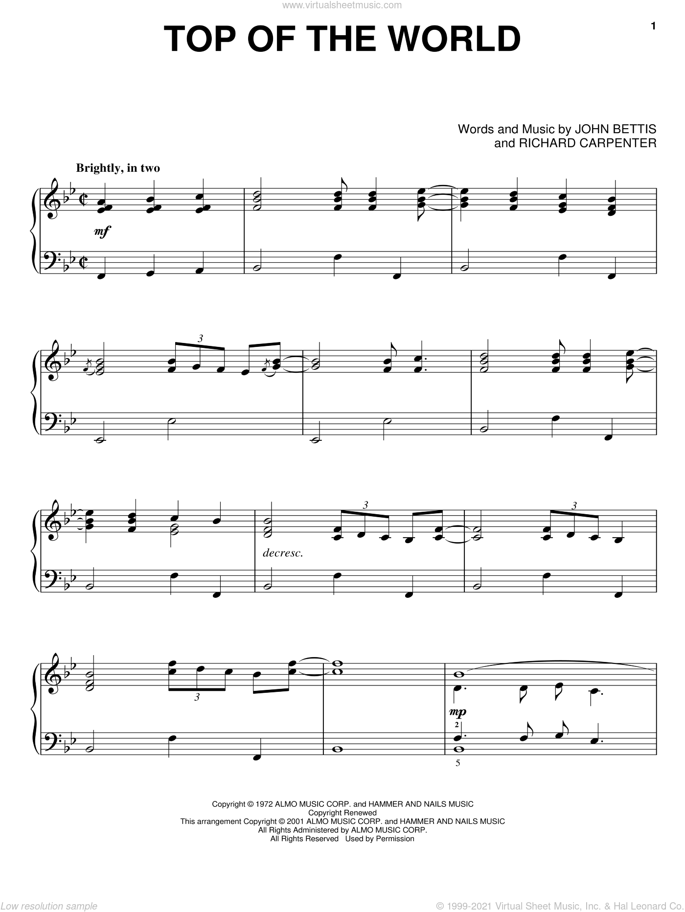 Top Of The World sheet music for piano solo by Carpenters and John Bettis. Score Image Preview.