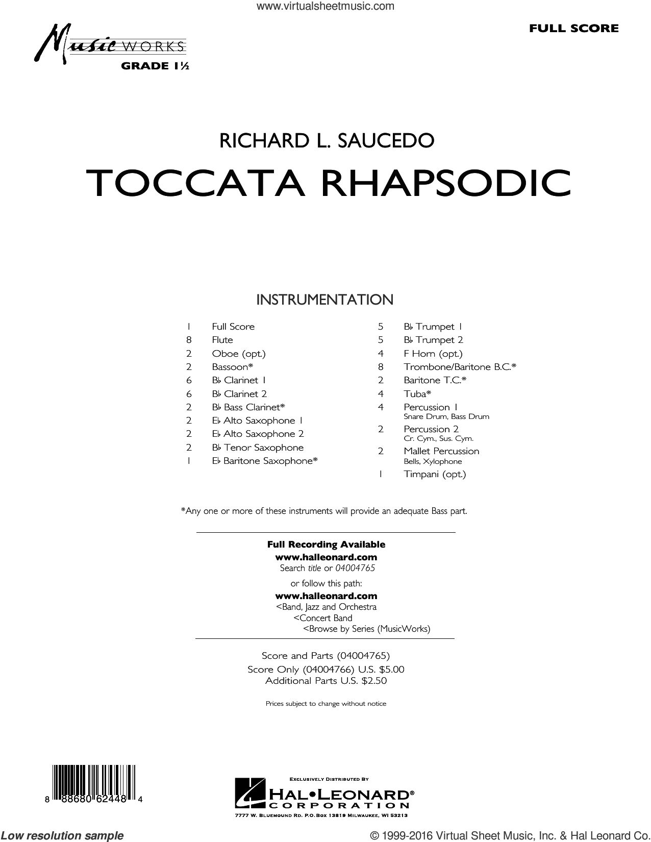 Toccata Rhapsodic (COMPLETE) sheet music for concert band by Richard L. Saucedo. Score Image Preview.