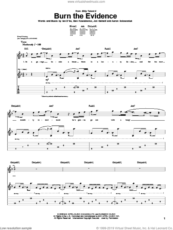 Burn The Evidence sheet music for guitar (tablature) by Billy Talent. Score Image Preview.
