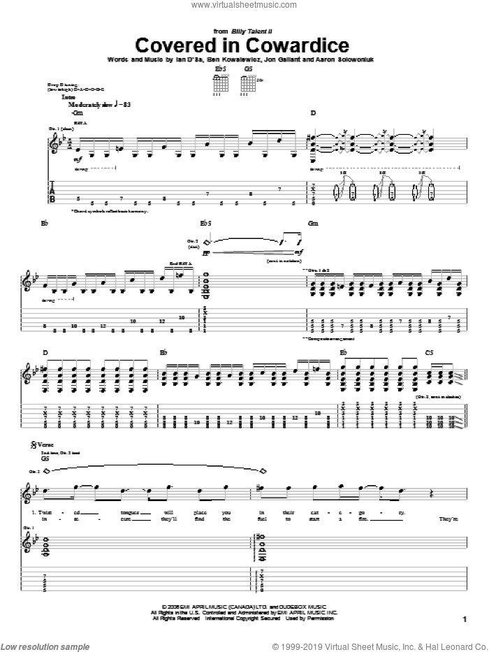 Covered In Cowardice sheet music for guitar (tablature) by Jon Gallant. Score Image Preview.