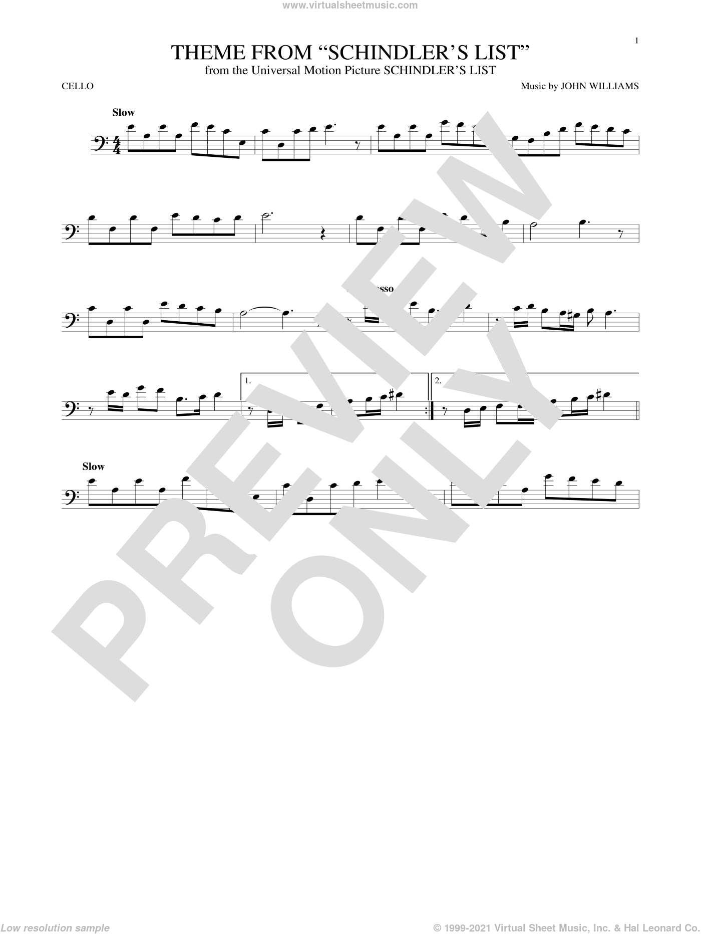 Theme From Schindler's List sheet music for cello solo by John Williams, intermediate skill level